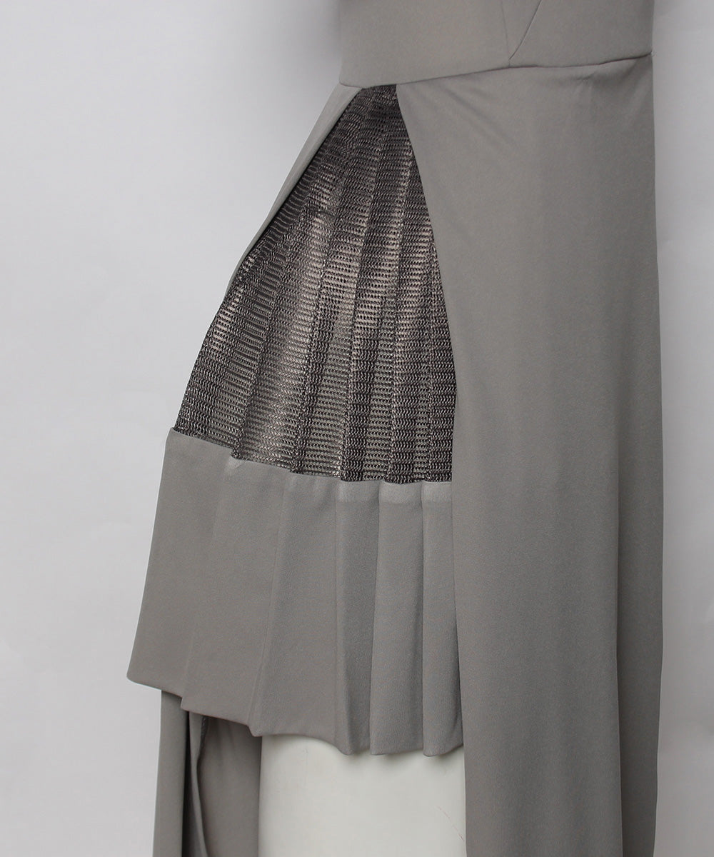 Fernando Garcia Gray Jersey Dress with Pleated Skirt and Overlay - C.Madeleine's