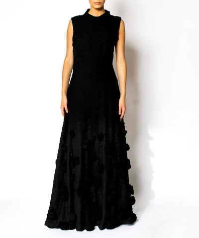 Black Sleeveless Pleated Rosette Gown - C.Madeleine's