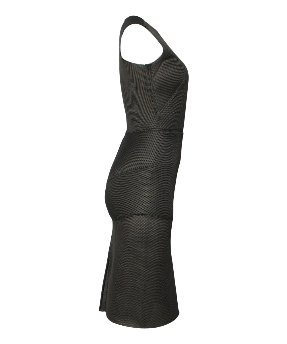 DONE- Fernando Garcia Olive Spacer Mesh Sheath Dress - C.Madeleine's