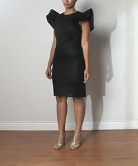Fernando Garcia Black Spacer Mesh Sheath Dress With Ruffle Sleeve - C.Madeleine's