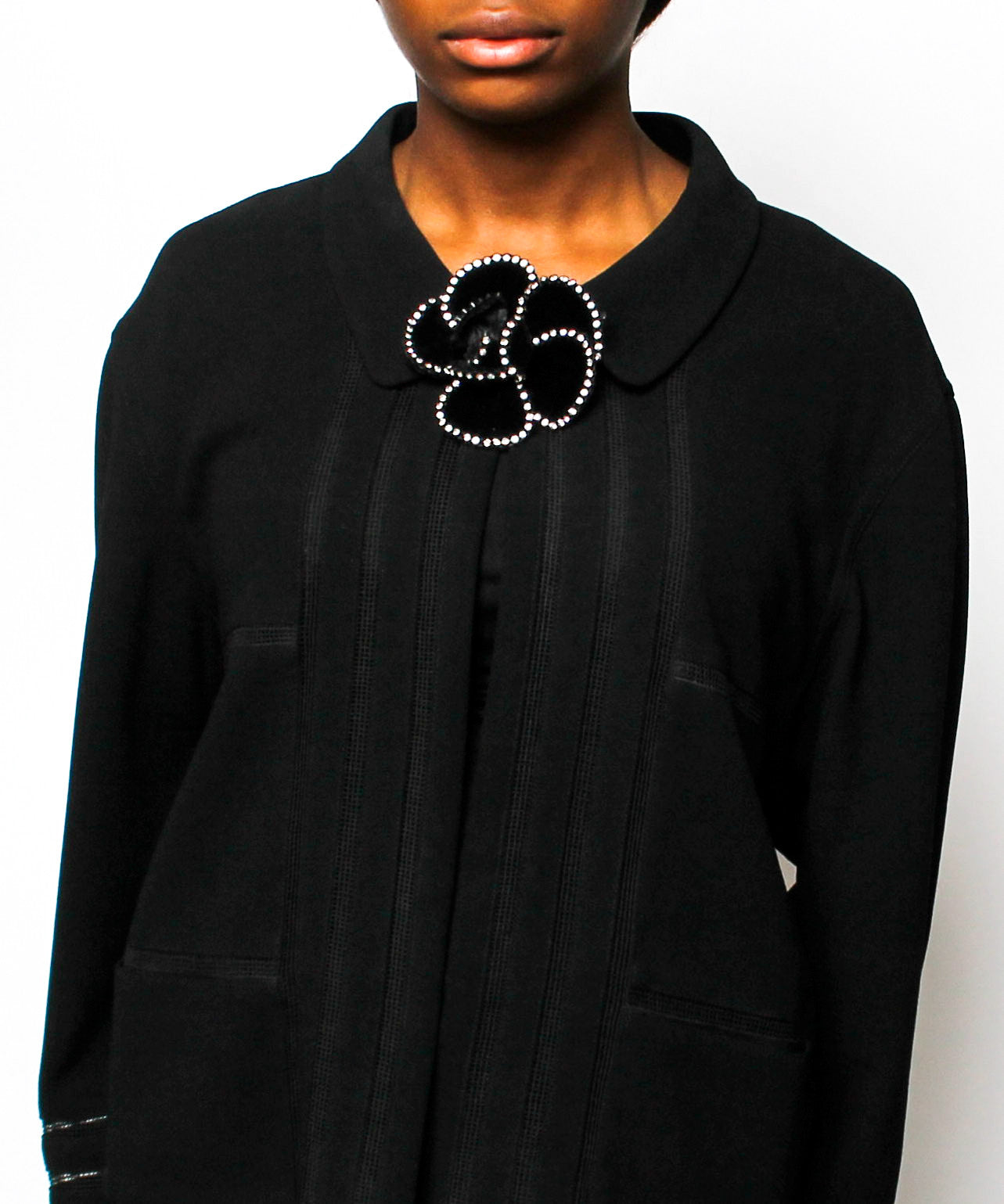 Chanel 1990s Black Velvet Camellia Flower Brooch