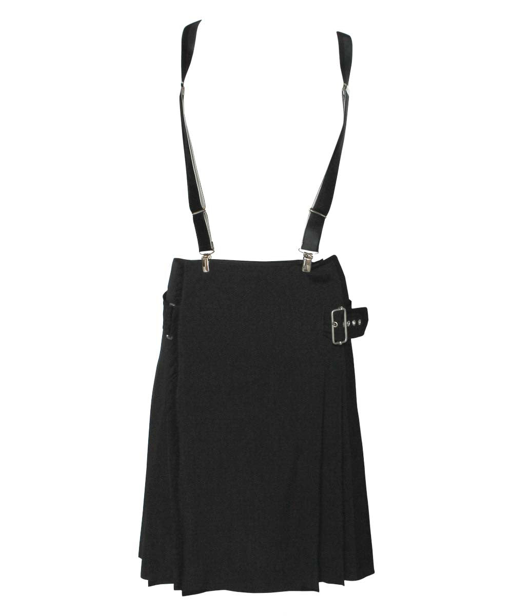 Jean Paul Gaultier 90s Black Thin Wool Knit Wrap Pleated Skirt With Suspenders - C.Madeleine's