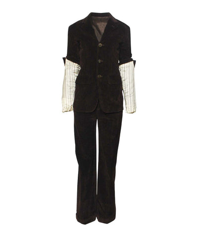 Jean Paul Gaultier 90s Gray Felted Wool With Rolled Neck Zipper Jacket and Pants Set