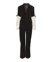 Jean Paul Gaultier Chocolate Corduroy Blazer Trouser Set With Fold Over Sleeves