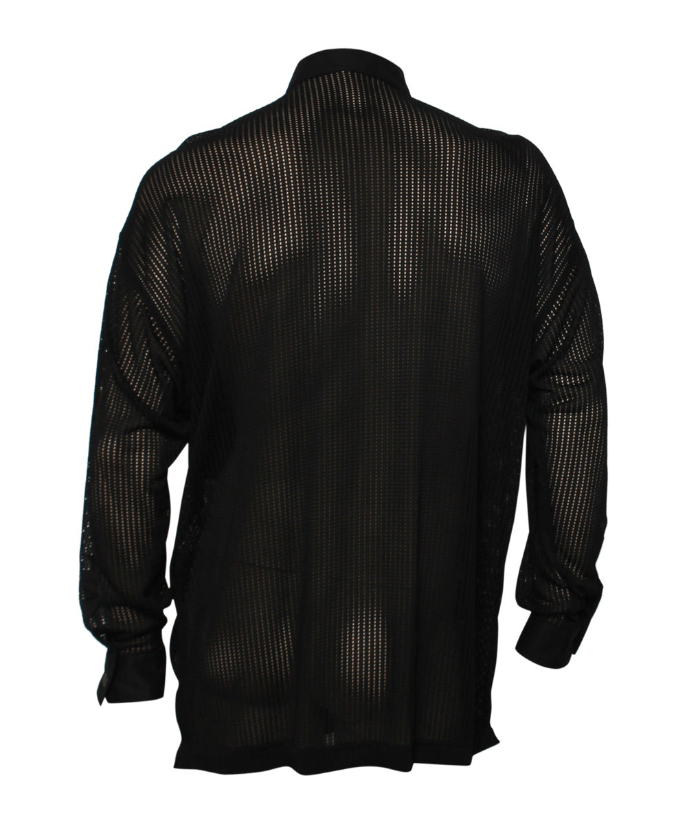 1990s Gianni Versace Black Perforated Sheer Mens Shirt - C.Madeleine's