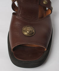 1990s Gianni Versace Chocolate Color Open Toe Mens Medusa Sandals - C.Madeleine's