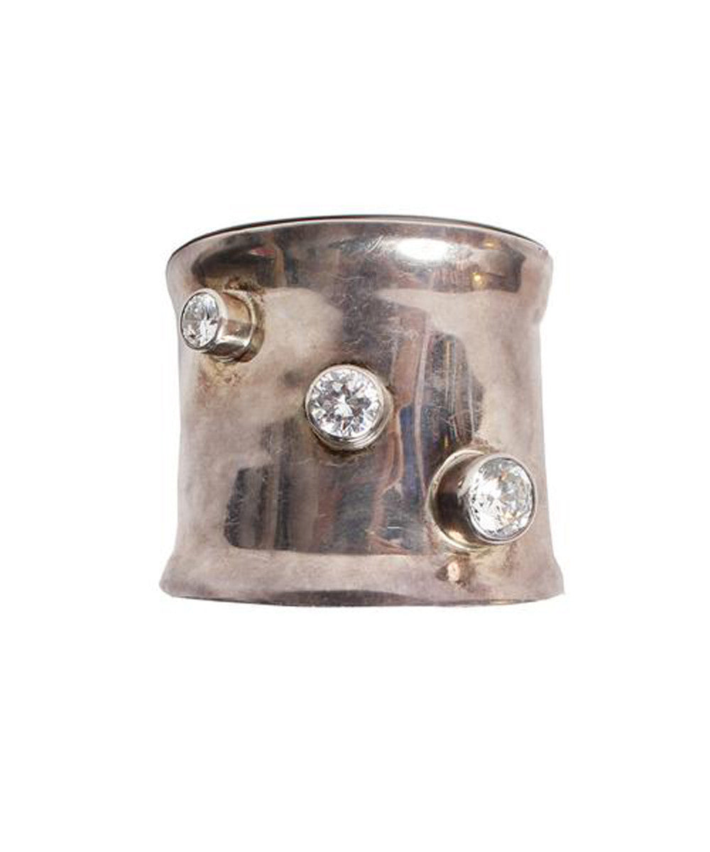 Vintage Sterling Silver Cuff With Rhinestone Accenting