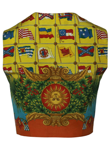 Versace Leather Vest with Flag Silk Print