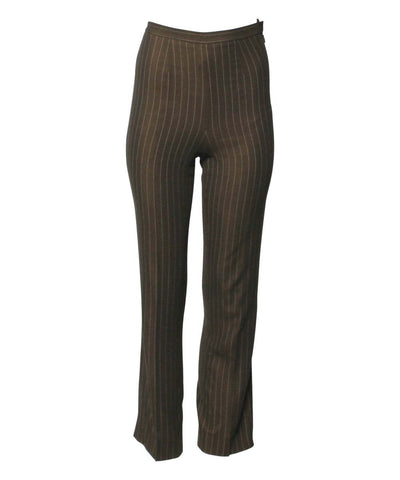 Jean Paul Gaultier 1990's Chocolate Brown Golden Pinstripe Wool Trousers