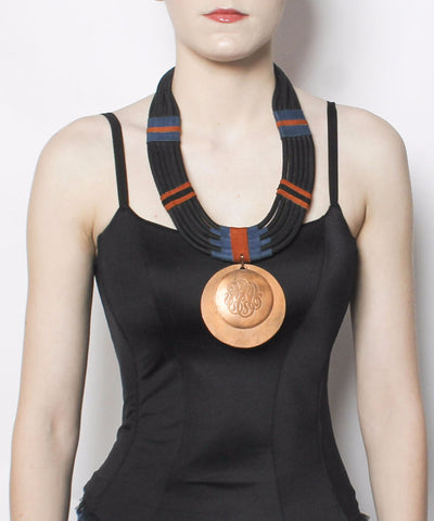Woven Rope Copper Medallion Necklace