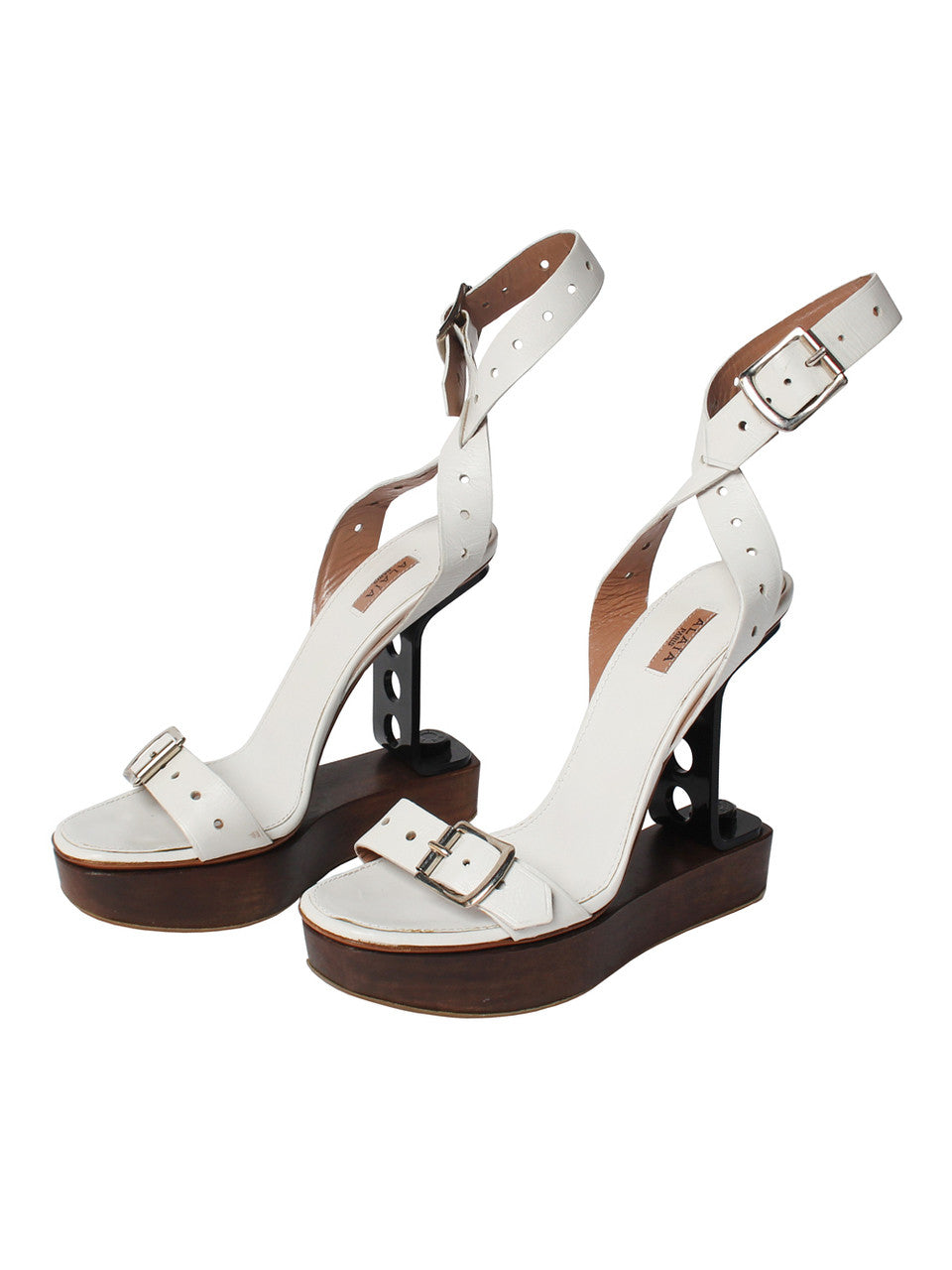 Alaia Wooden Platforms With Hardware Wedge Heel
