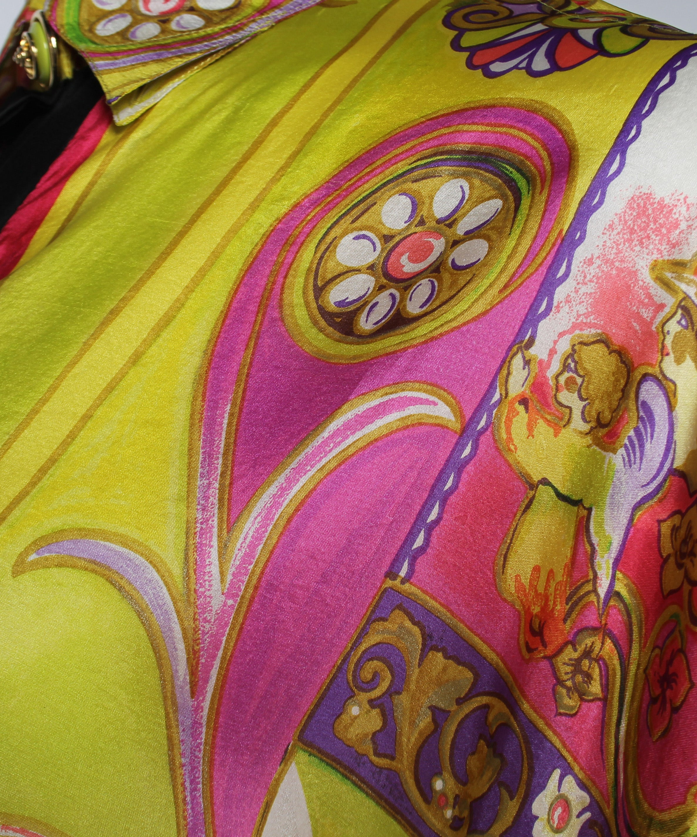 PRINT -Versace Couture Neon Berry Colors Whimsical Equestrian Print Silk Shirt - C.Madeleine's