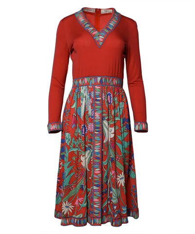 Fernando Garcia Gray Jersey Dress with Pleated Skirt and Overlay