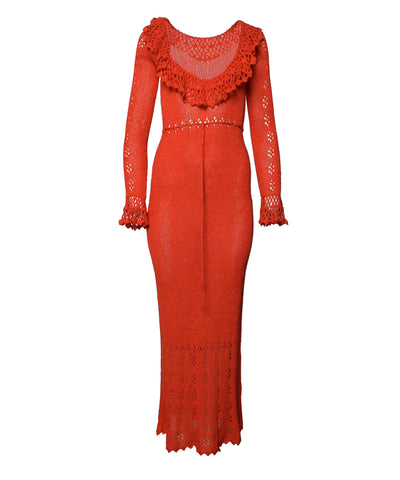 1970s Bohemian Style Coral and Lace Print Maxi Dress
