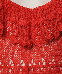 1970's Coral Knit and Crochet Maxi Dress - C.Madeleine's