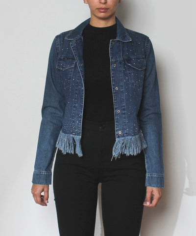 PRINT- Fendi Blue Jean Stretch Denim & Rhinestones Trim Jacket - C.Madeleine's