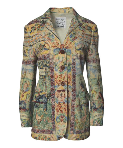 Moschino Cheap & Chic Olive Oil & Popeye Print Blazer