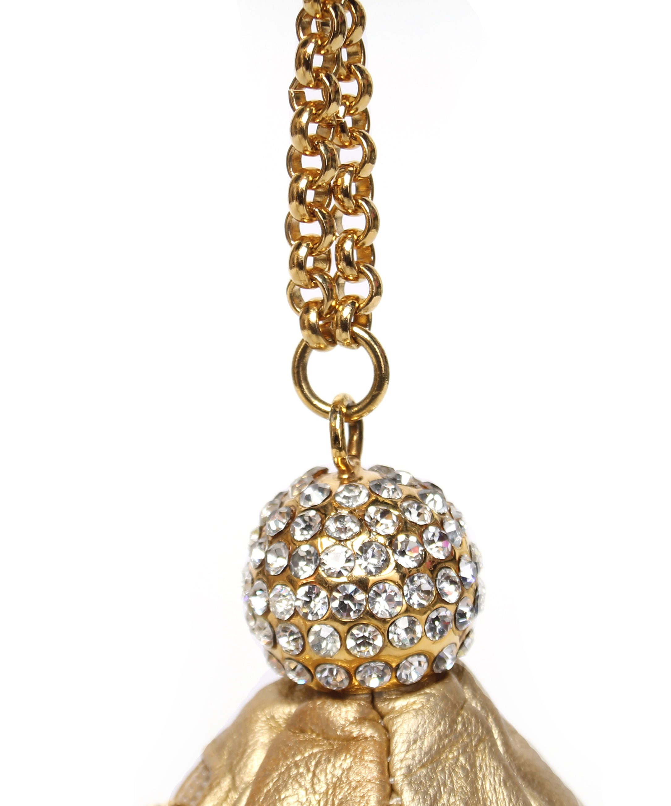 Metallic Gold Leather and Pave Rhinestones Balloon Shaped Purse - C.Madeleine's