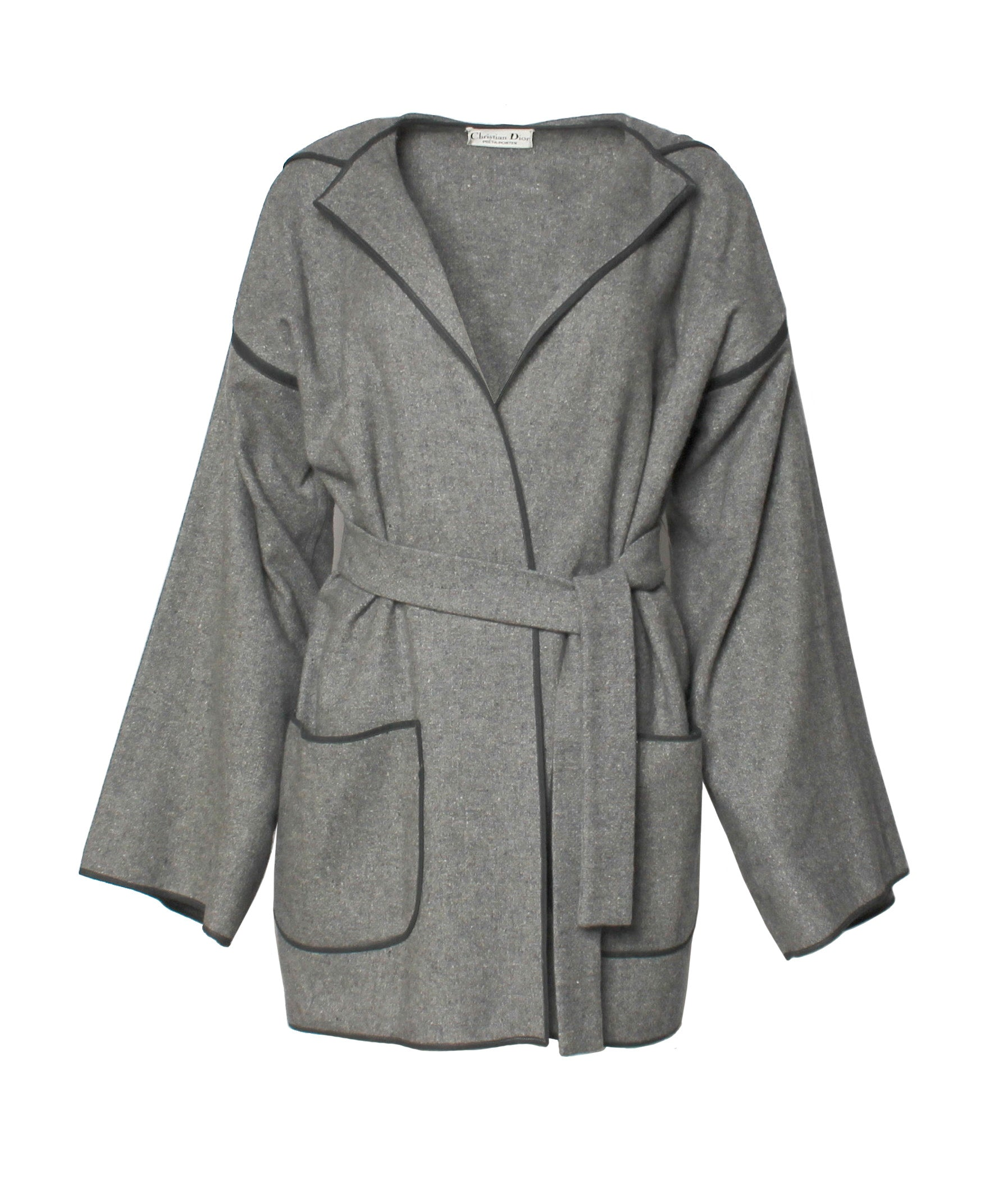 Christian Dior Grey Felted Wool Jacket with Hood and Tie Belt - C.Madeleine's