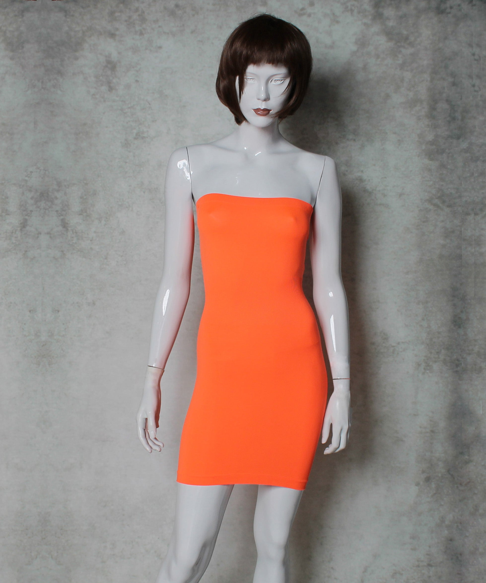 Fernando Garcia Orange Mesh Portrait Collar A-Line Dress - C.Madeleine's