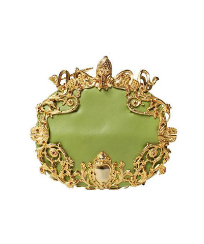 Gianni Versace Ornate Gold & Lime Green Baroque Shoulder Bag