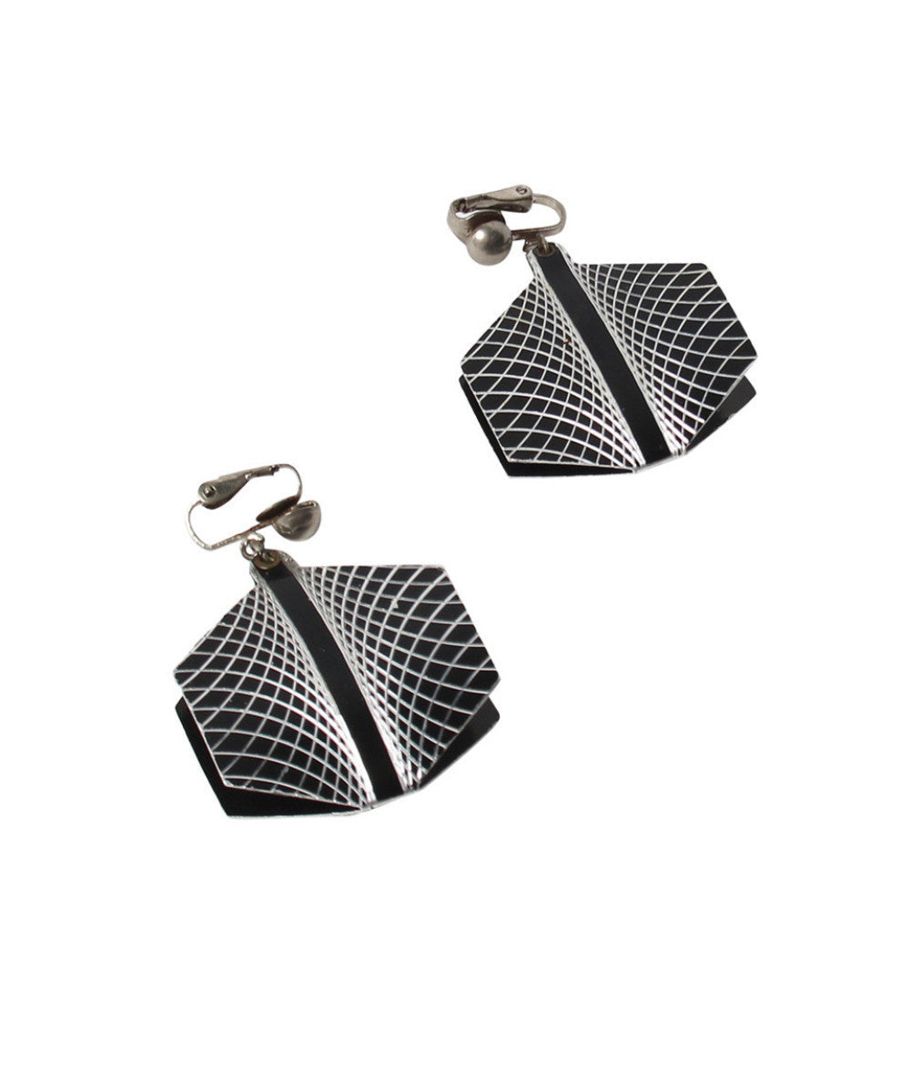 Vintage Black & Silver Geometric Earrings