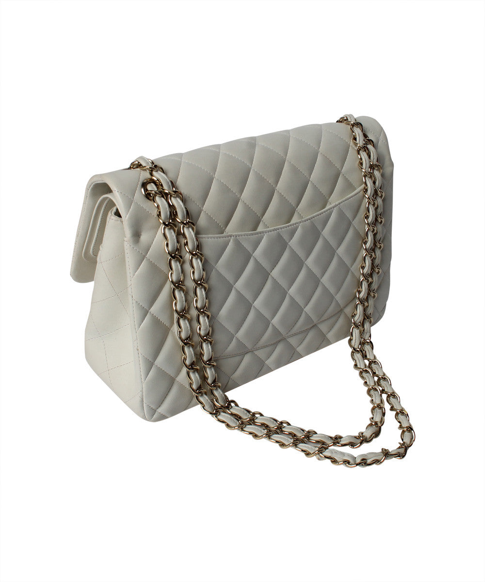 Chanel White Quilted Lambskin Jumbo Double Flap Shoulder Bag - C.Madeleine's