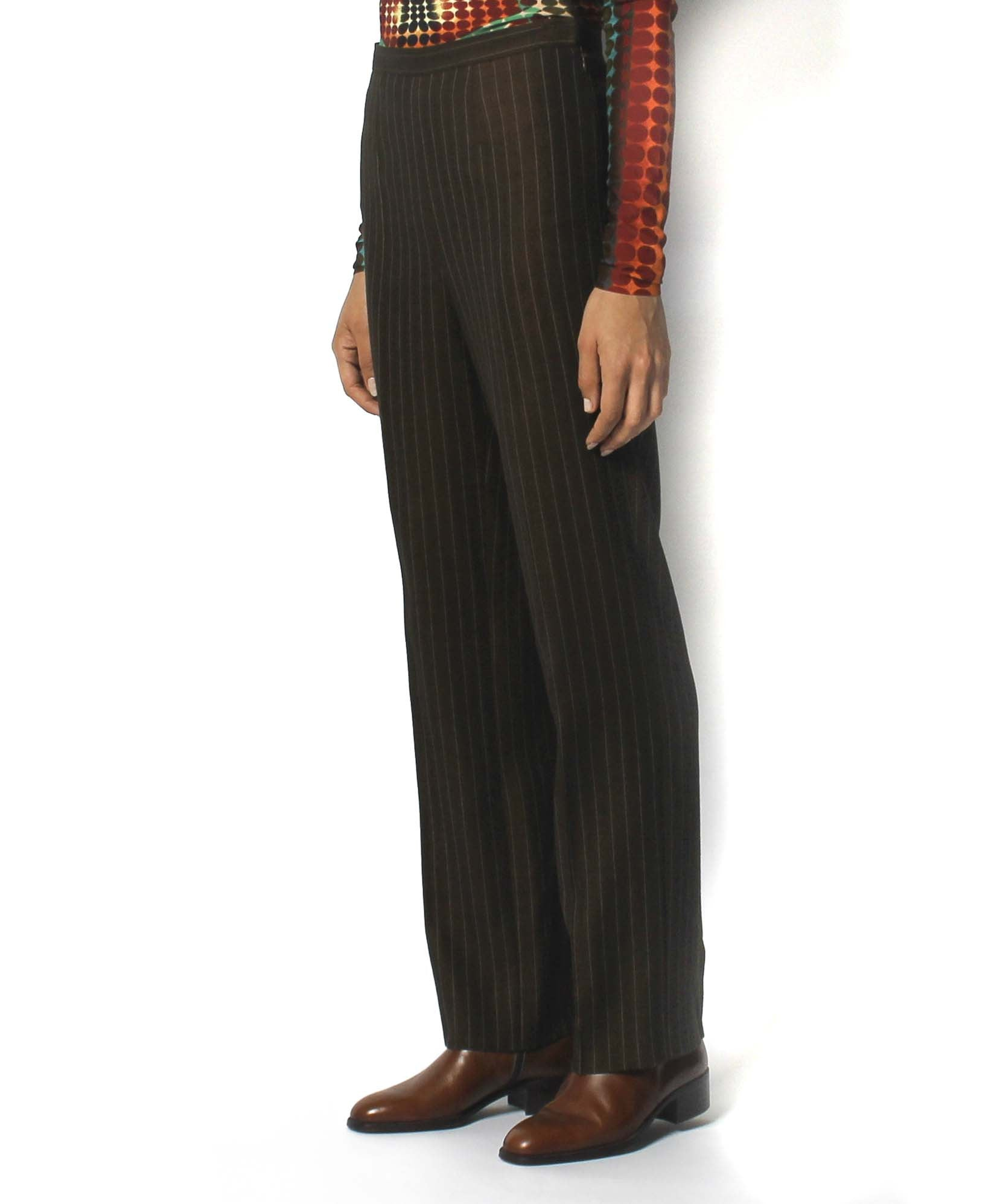 Jean Paul Gaultier 1990's Chocolate Brown Golden Pinstripe Wool Trousers - C.Madeleine's