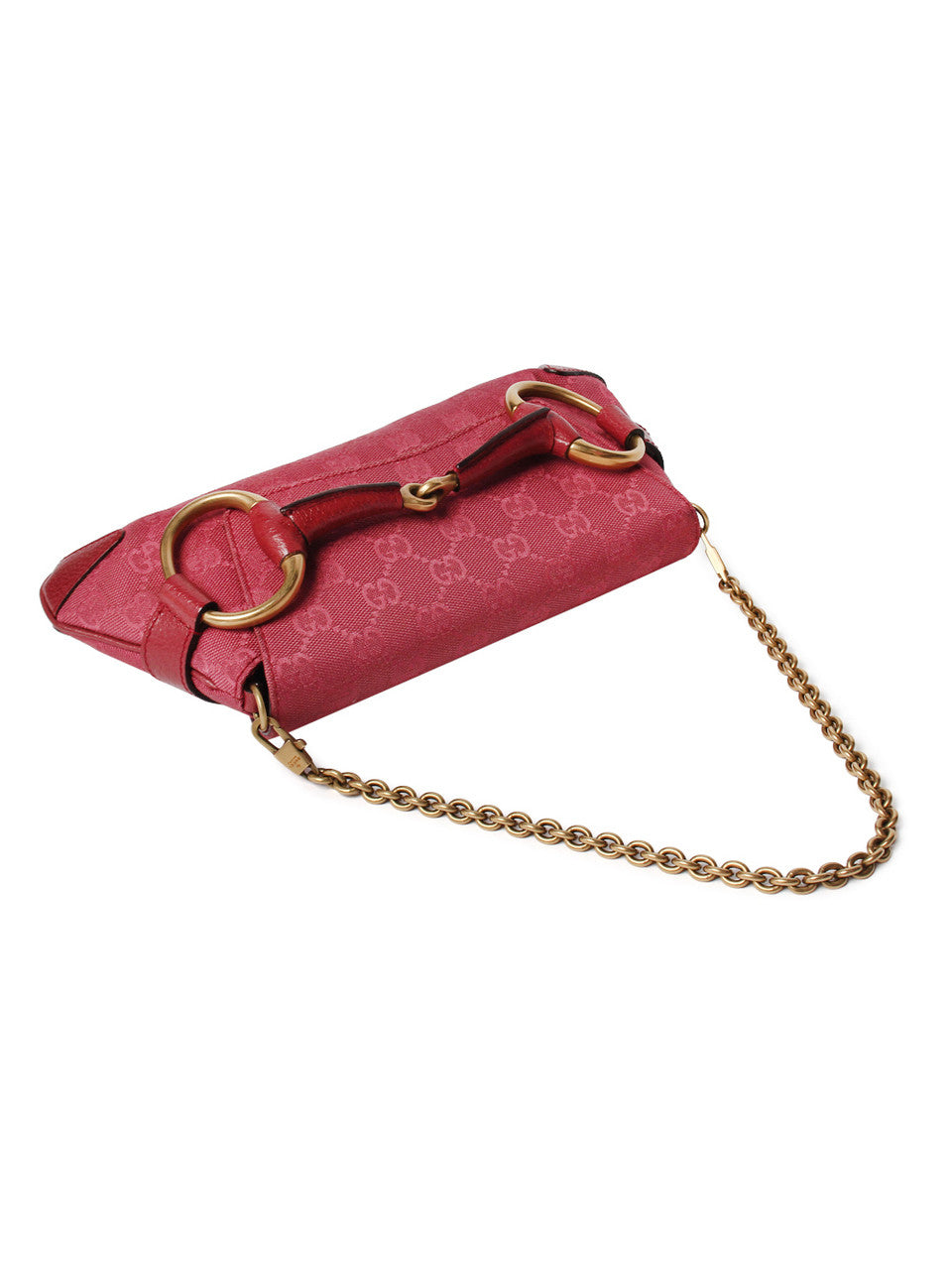 Gucci Rose Canvas Horsebit Shoulder Bag