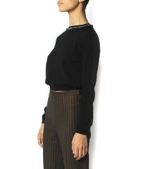 Jean Paul Gaultier Black Wool Sweater With Bell Beaded Neckline - C.Madeleine's