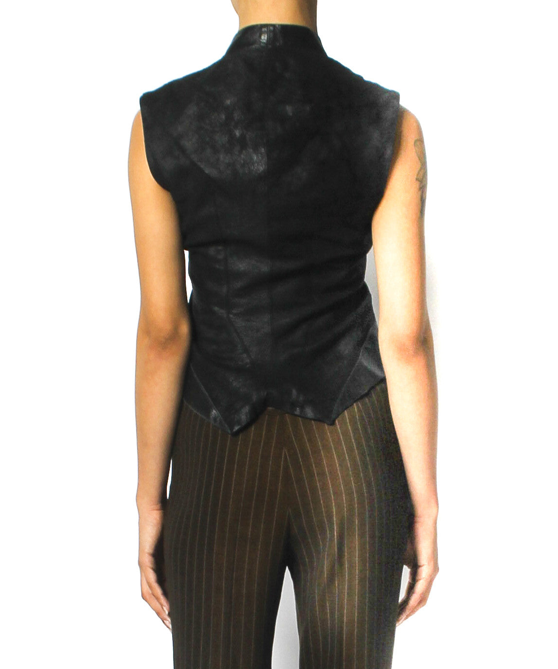 Rick Owens Black Leather Fitted Vest - C.Madeleine's