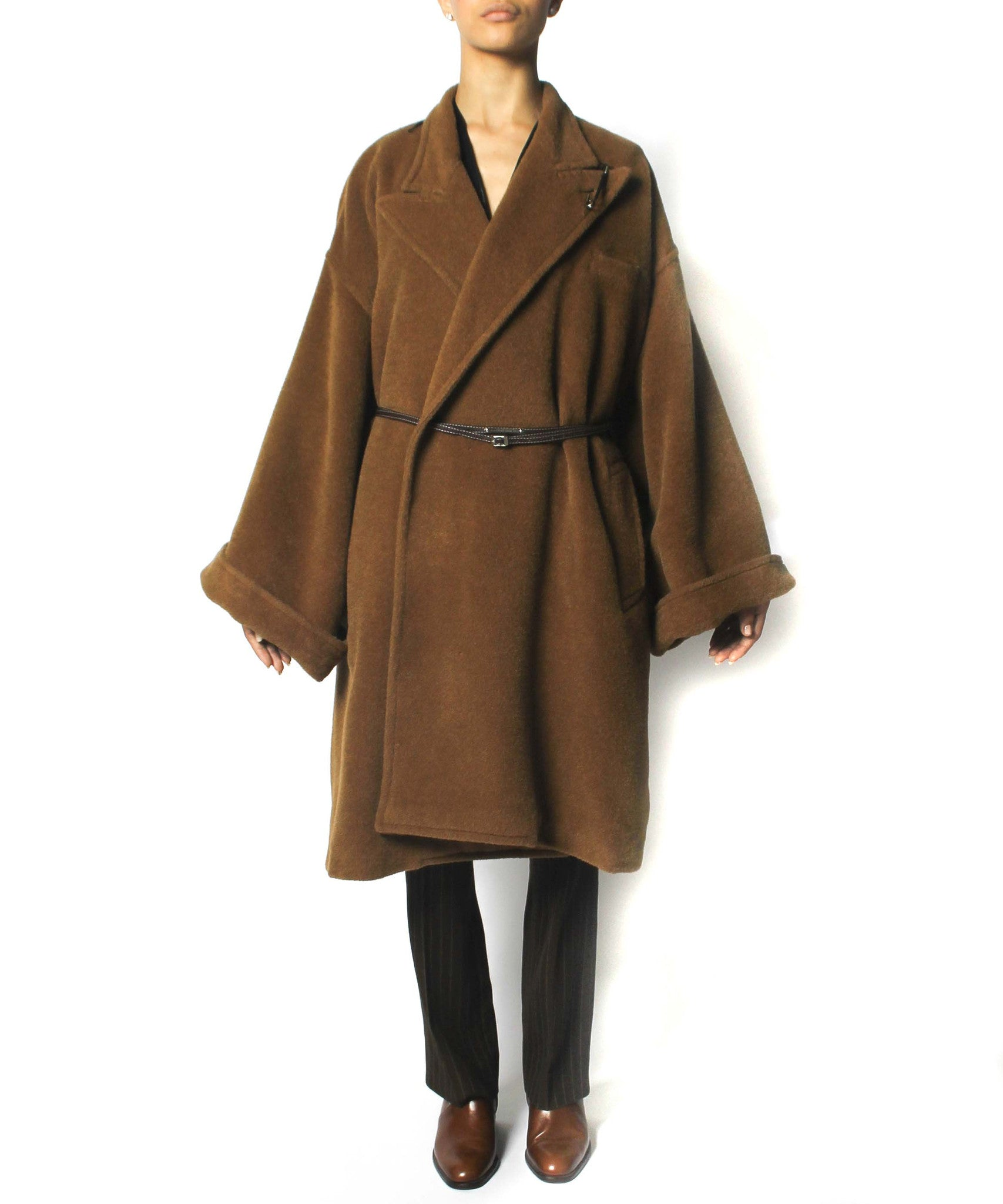 Jean Paul Gaultier 90s Caramel Brown Camel Hair Oversized Coat With Belt