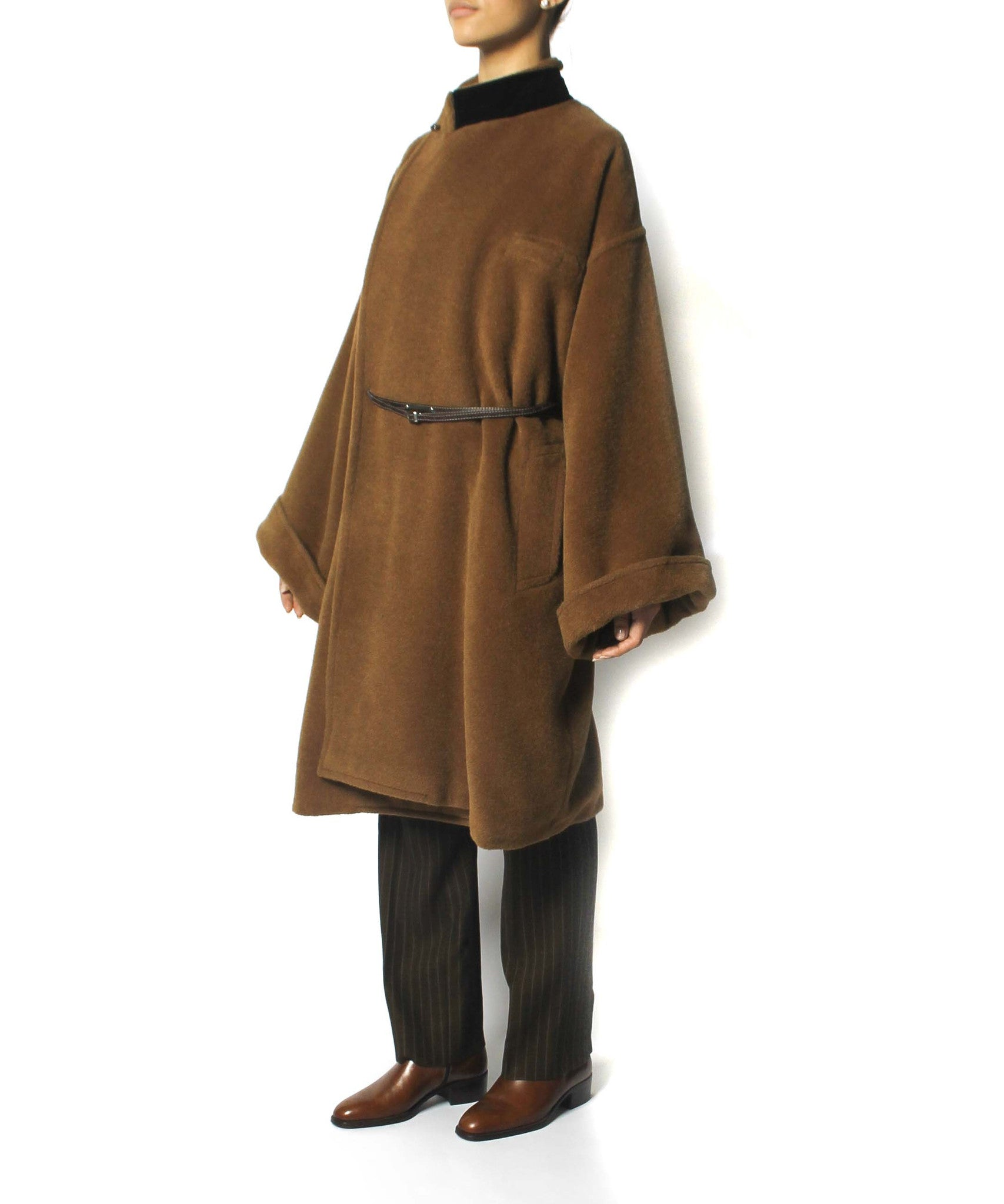 Jean Paul Gaultier 90s Caramel Brown Camel Hair Oversized Coat With Belt - C.Madeleine's