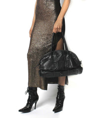 Jean Paul Gaultier Black Leather Trench Purse