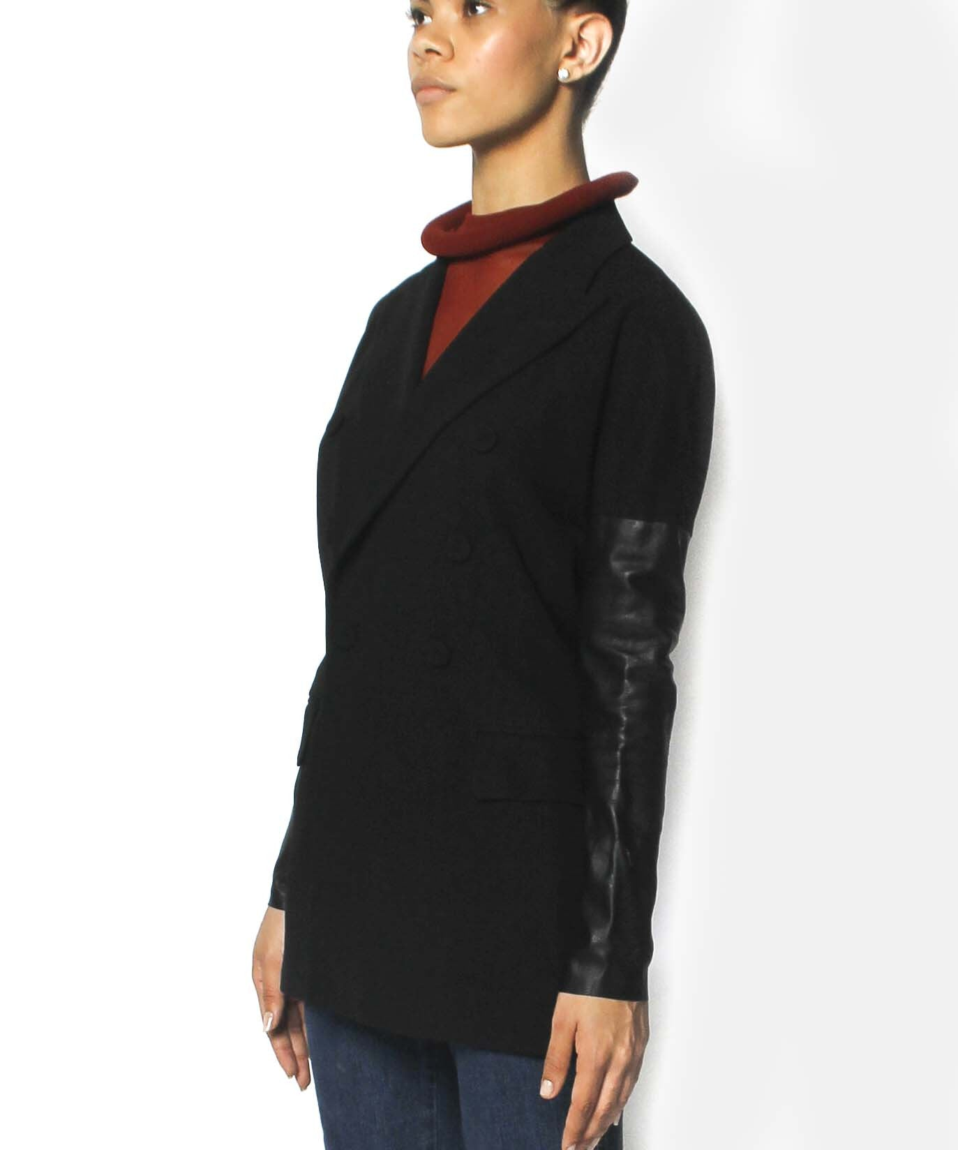 Jean Paul Gaultier Black Fine Wool Blazer With Leather Sleeves - C.Madeleine's