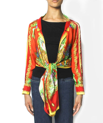 Gianni Versace Silk Multicolor Printed Tie-Front Blouse