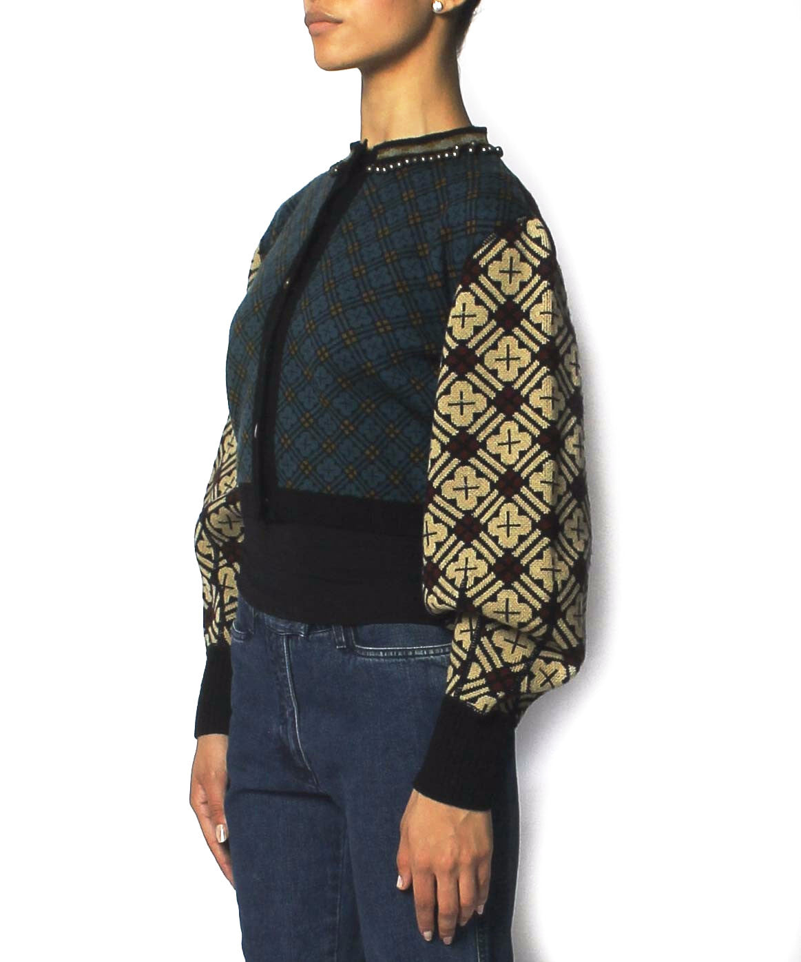 Jean Paul Gaultier Printed Wool Knit Cardigan With Bell Beaded Neckline - C.Madeleine's