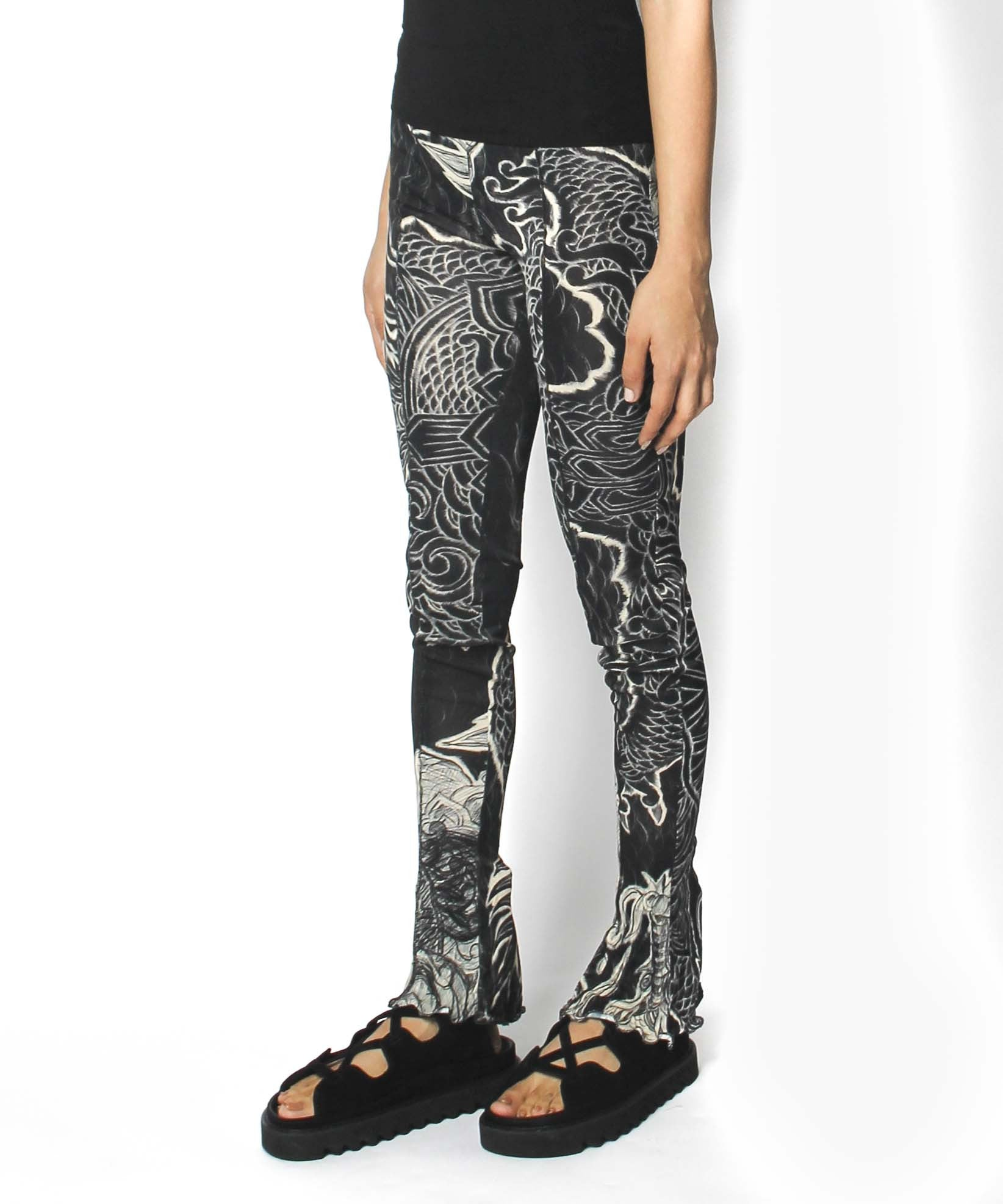 Jean Paul Gaultier Gray Koi Fish Printed Stretch Pants