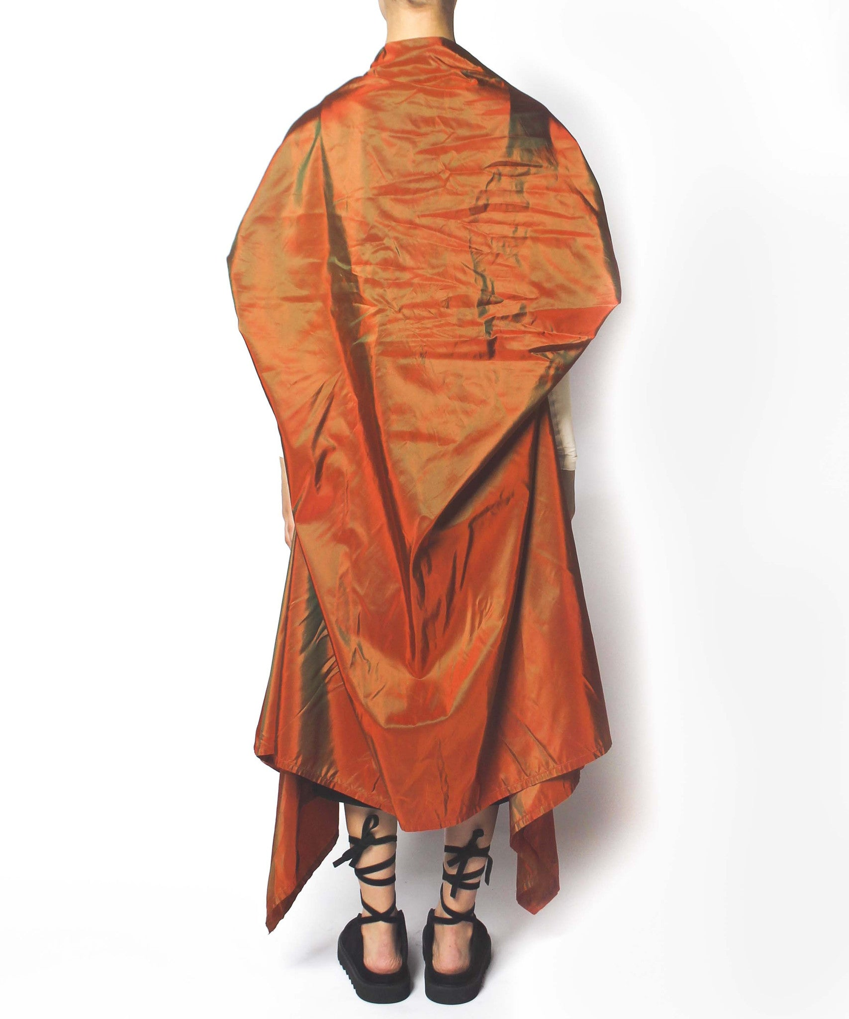 Jean Paul Gaultier 90s Pumpkin Taffeta Oversize Asymmetrical Coat with Cream Tight Sleeves