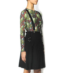 Jean Paul Gaultier Black Thin Wool Knit Wrap Skirt With Suspenders