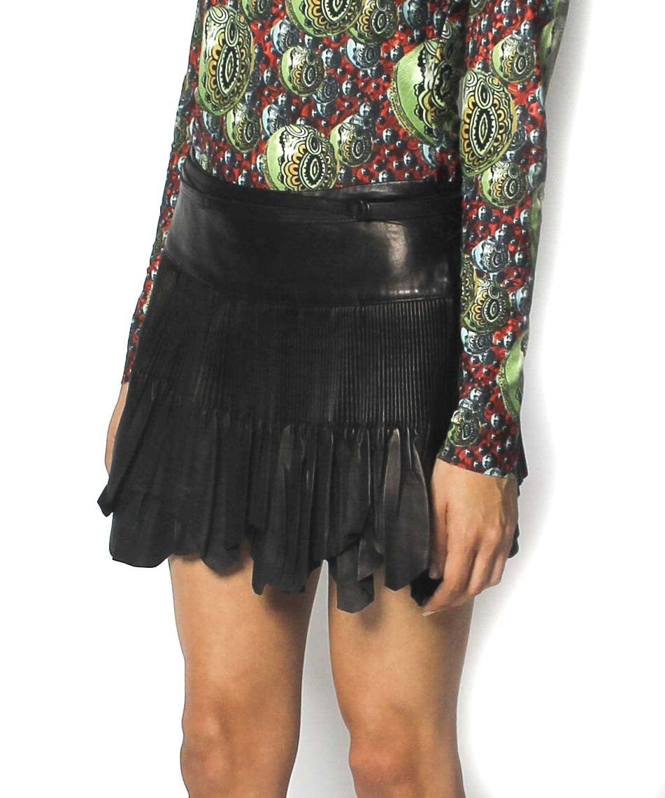 Jean Paul Gaultier Chocolate Brown Leather Pleated Mini Skirt - C.Madeleine's