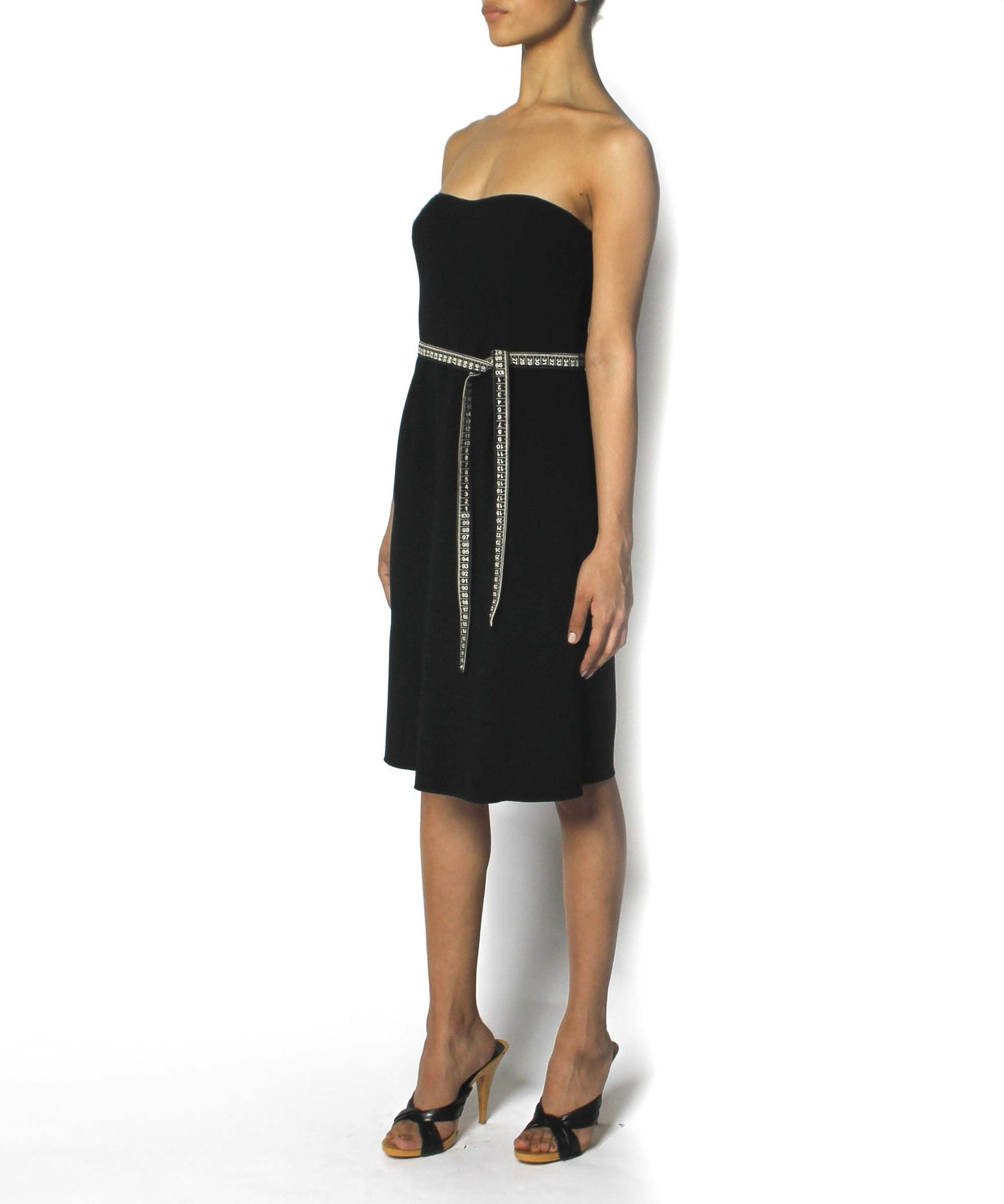Moschino Strapless Black Dress with Tape Measure Belt - C.Madeleine's