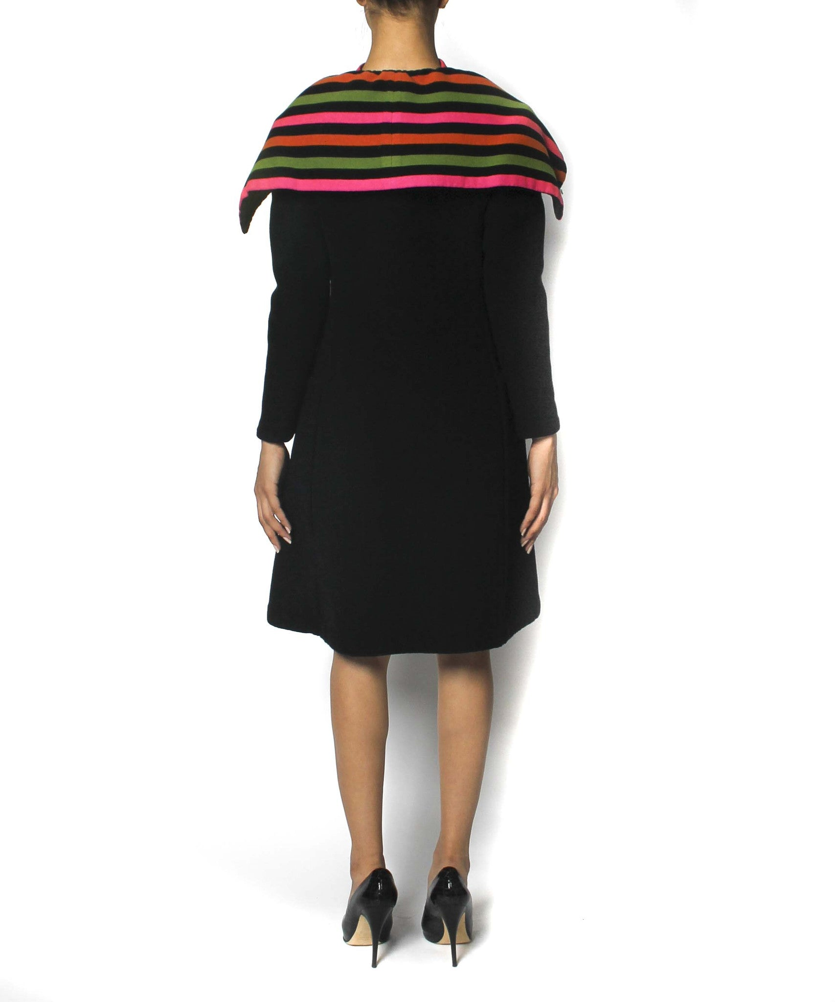 Pauline Trigère Black with Multicolor Stripes Coat and Dress - C.Madeleine's