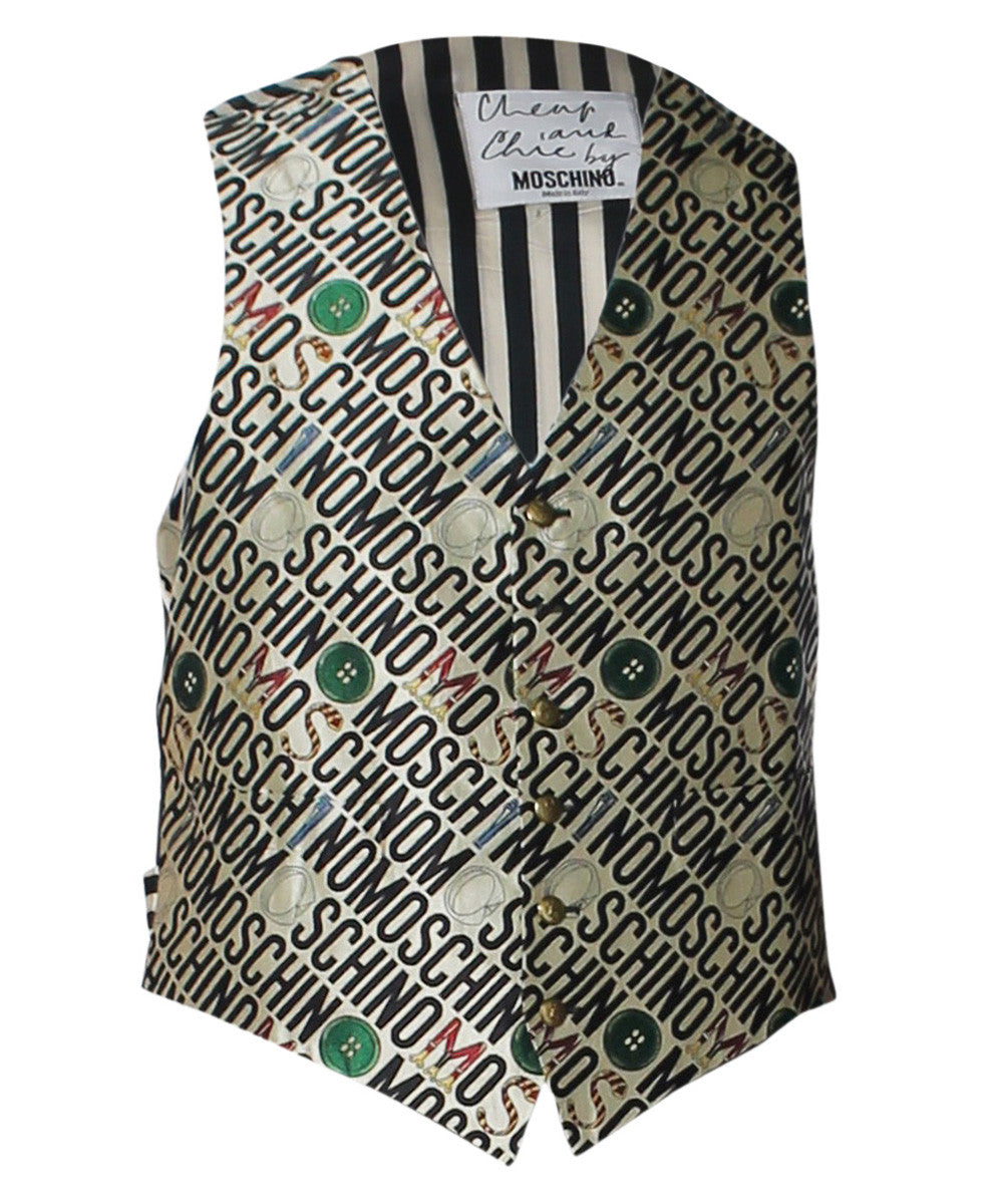 "Moschino Cheap and Chic 1990s Button ""Moschino"" Printed Mens Vest - C.Madeleine's"