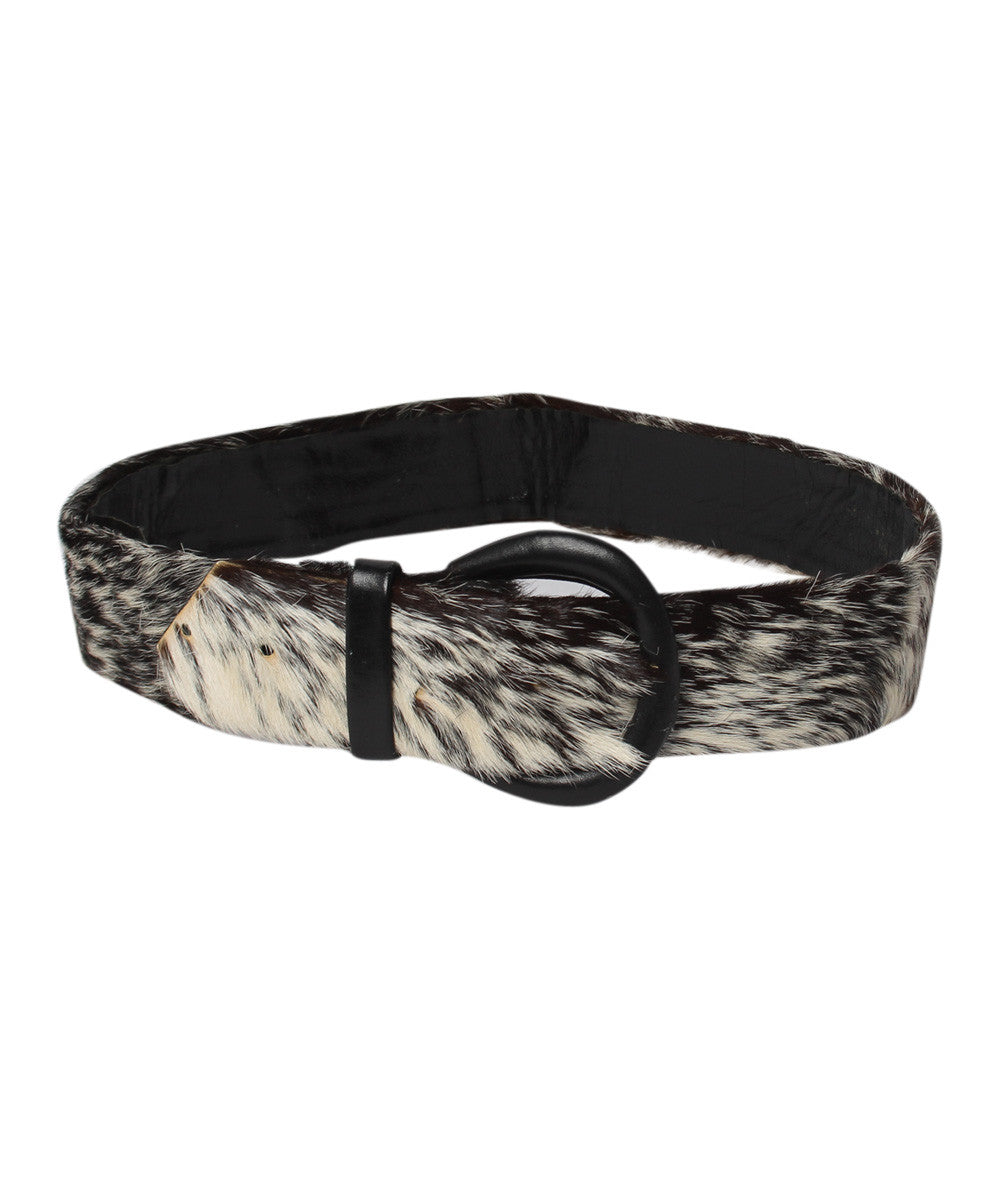 Black and White Fur Pony Waist Belt - C.Madeleine's