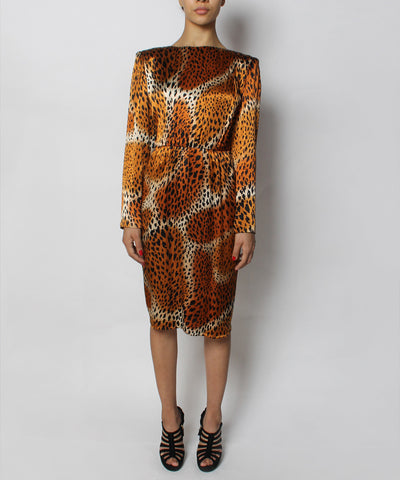 Yves Saint Laurent 1980s Silky Leopard Print Long Sleeve Dress - C.Madeleine's