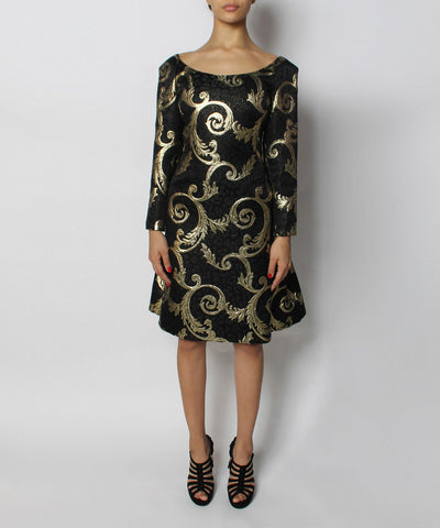 Scaasi Black & Gold Brocade Dress - C.Madeleine's