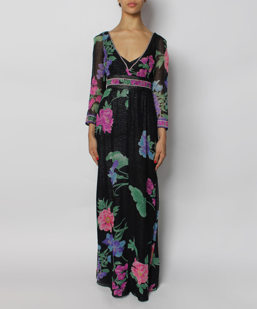 Leonard Chiffon Long Sleeve Multicolor Floral Dress - C.Madeleine's
