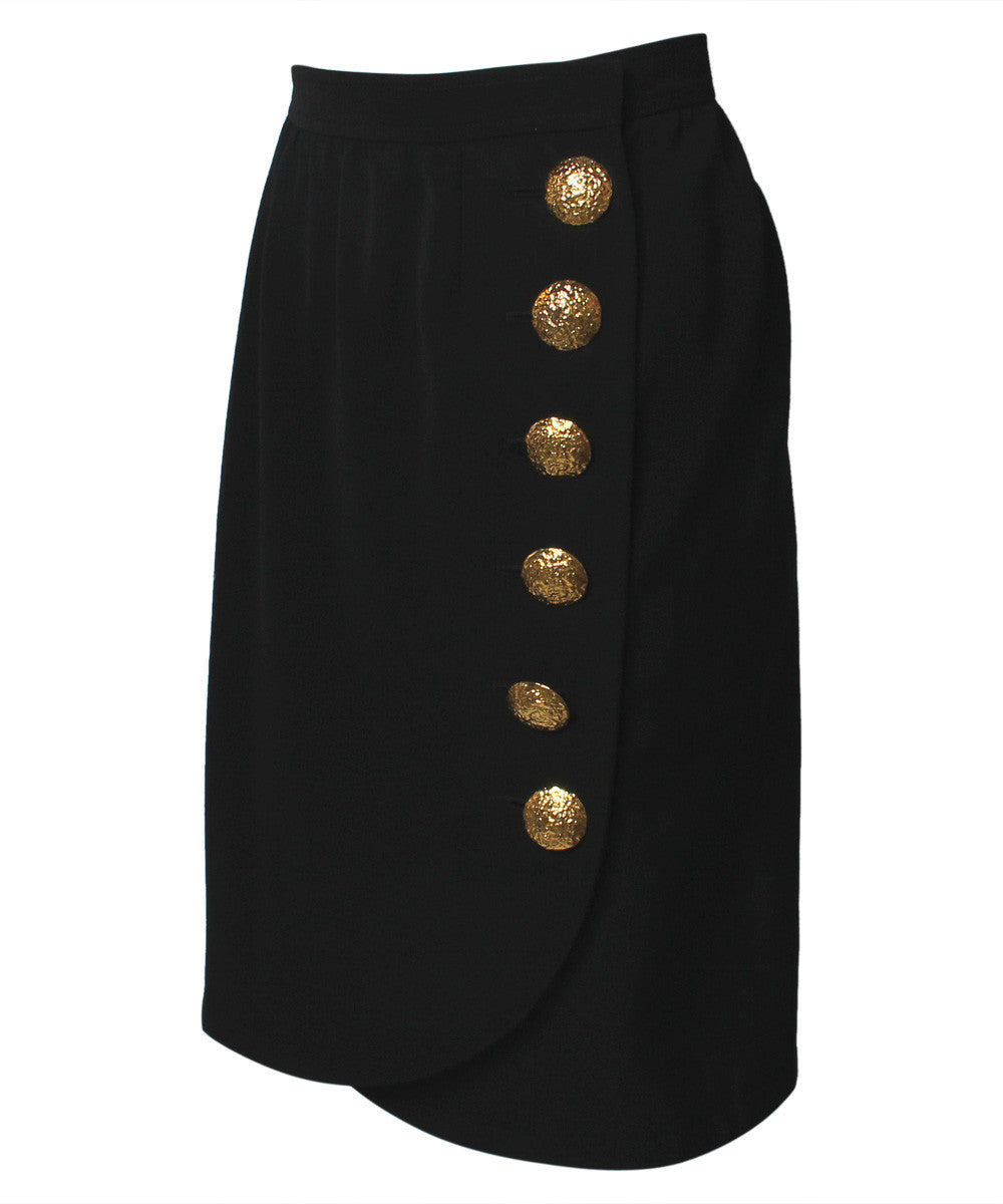 YSL Black Cropped Blazer With Gold Hammered Buttons and Matching Wrap Skirt - C.Madeleine's