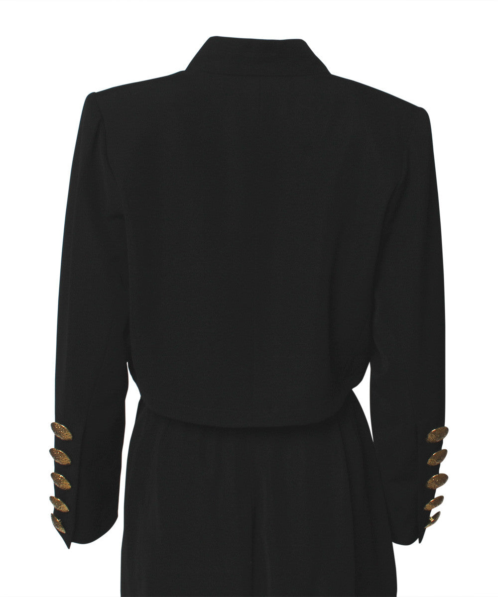 A.PROGRESS-YSL Black Cropped Blazer With Gold Hammered Buttons and Matching Wrap Skirt - C.Madeleine's